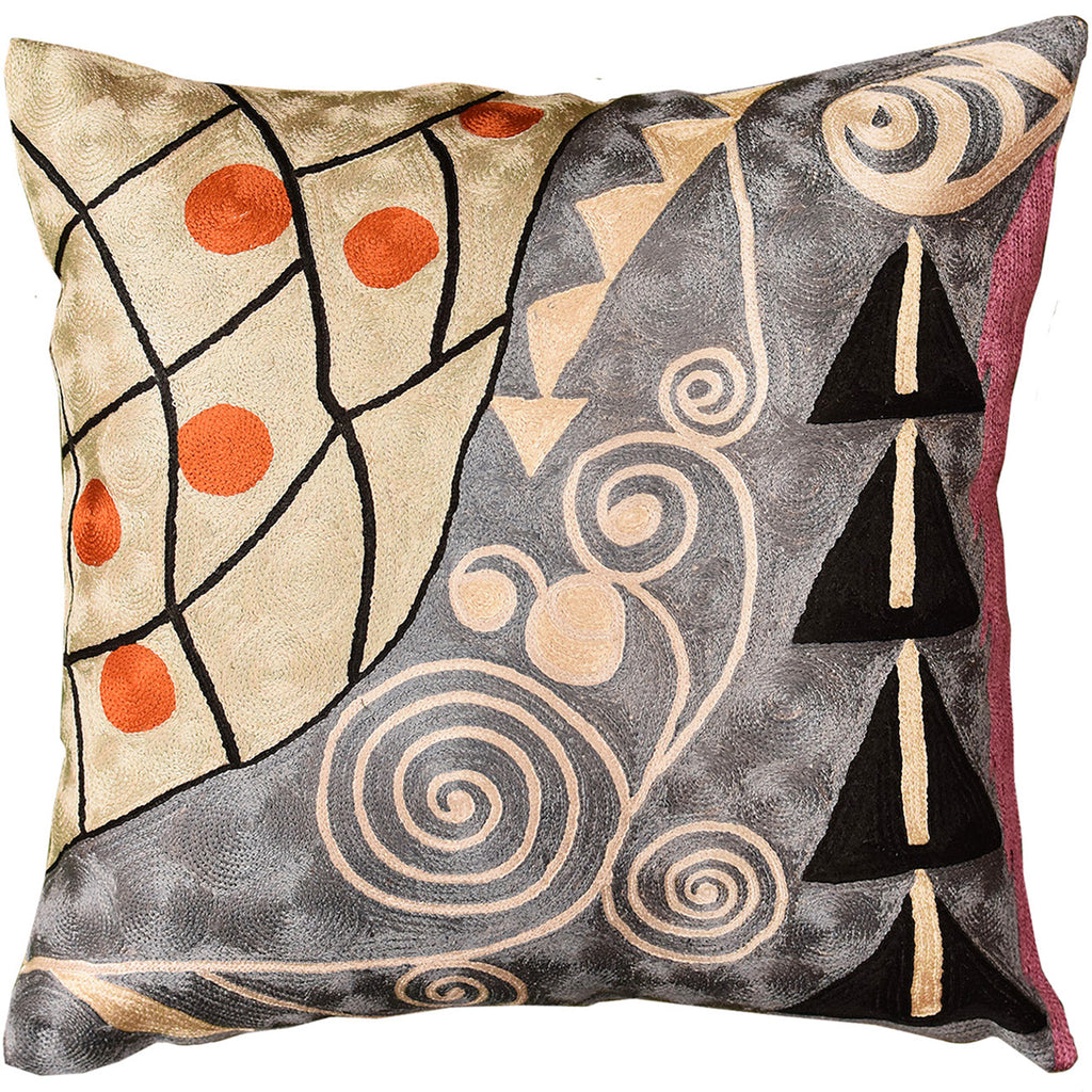 "Klimt Pillow Cover Seed Tree Hand Embroidered 18"" X 18"" - KashmirDesigns"