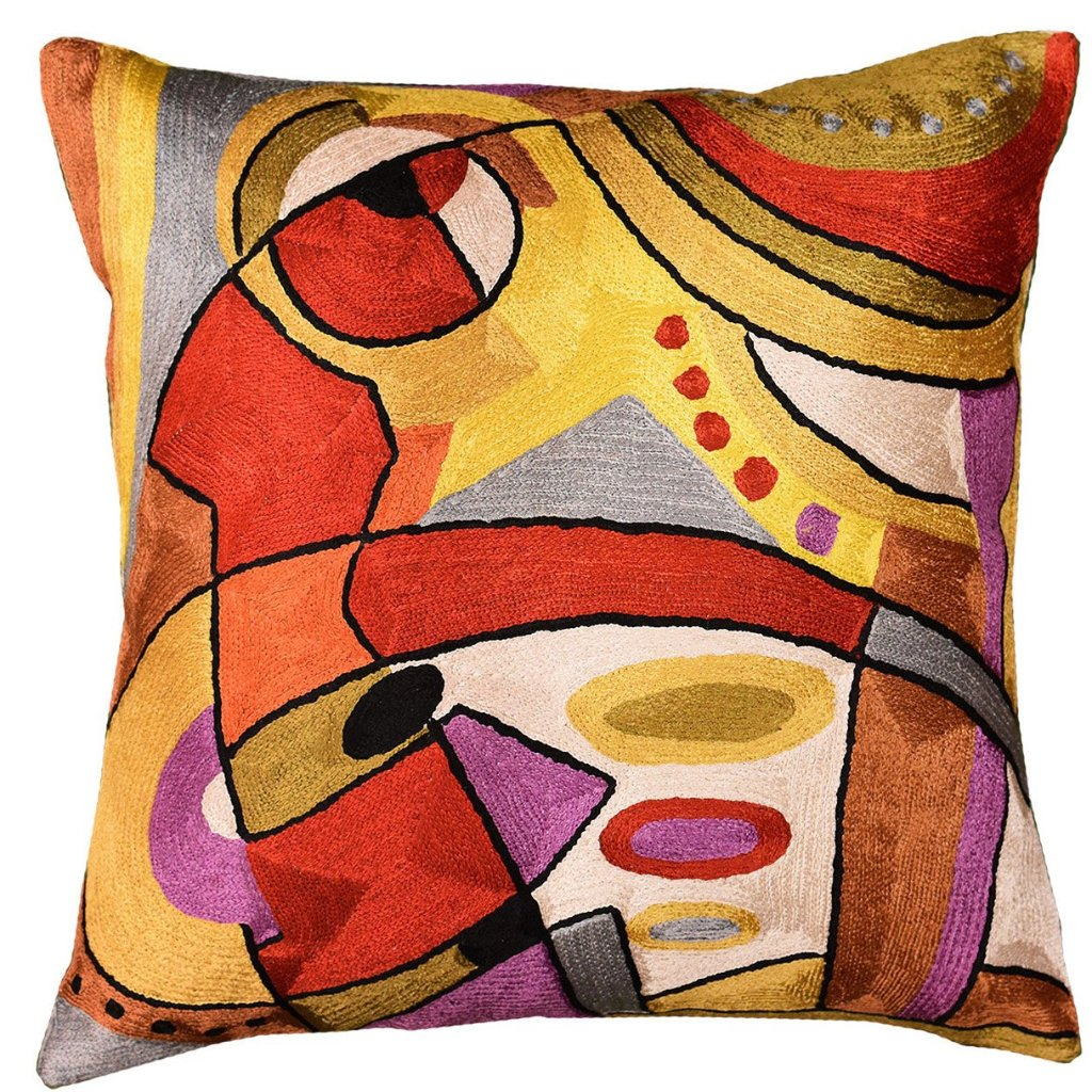 "Decorative Cushion Cover Abstract Musical Hand-embroidered, 18""x18"" - KashmirDesigns"