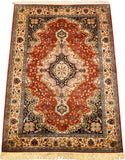 6'X4' Orange Red Kashan Rug Pure Silk Pile Oriental Area Rugs Carpet Hand Knotted