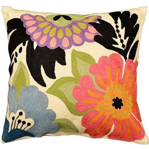 "Modern Floral Design Pillow Cover I Hand Embroidered Wool 18x18"" - KashmirDesigns"