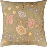 Vienna Mint Floral Design Decorative Cotton Pillow Cover Embroidered 18