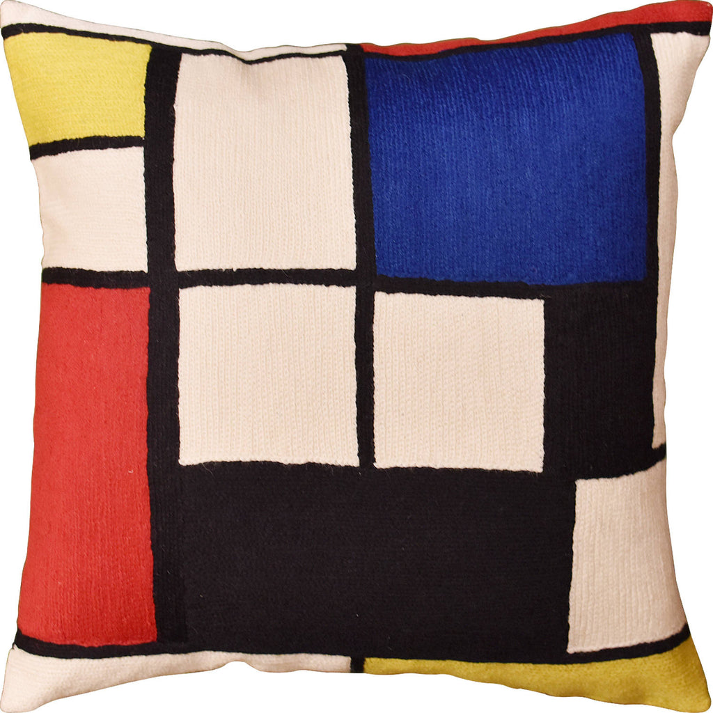 "Tableau l By Piet Mondrian Decorative Pillow Cover Modern Abstract Wool 18""x18"" - KashmirDesigns"