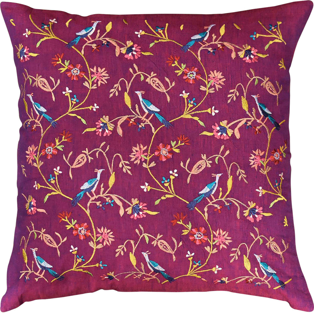 "Parakeet Purple Tree of Life Decorative Cotton Pillow Cover Embroidered 18""x18"" - KashmirDesigns"