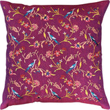 Parakeet Purple Tree of Life Decorative Cotton Pillow Cover Embroidered 18