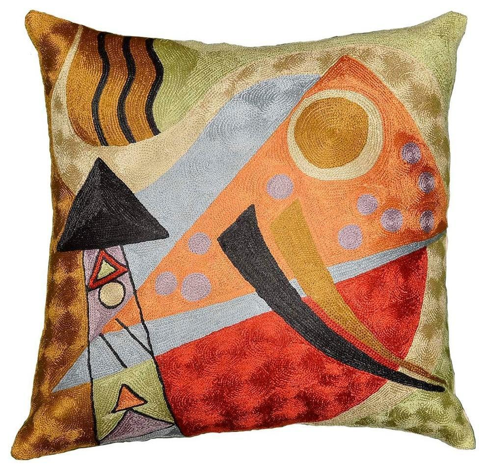 "Kandinsky Abstract Composition Silk Throw Pillow Cover, 18"" x 18"" - KashmirDesigns"