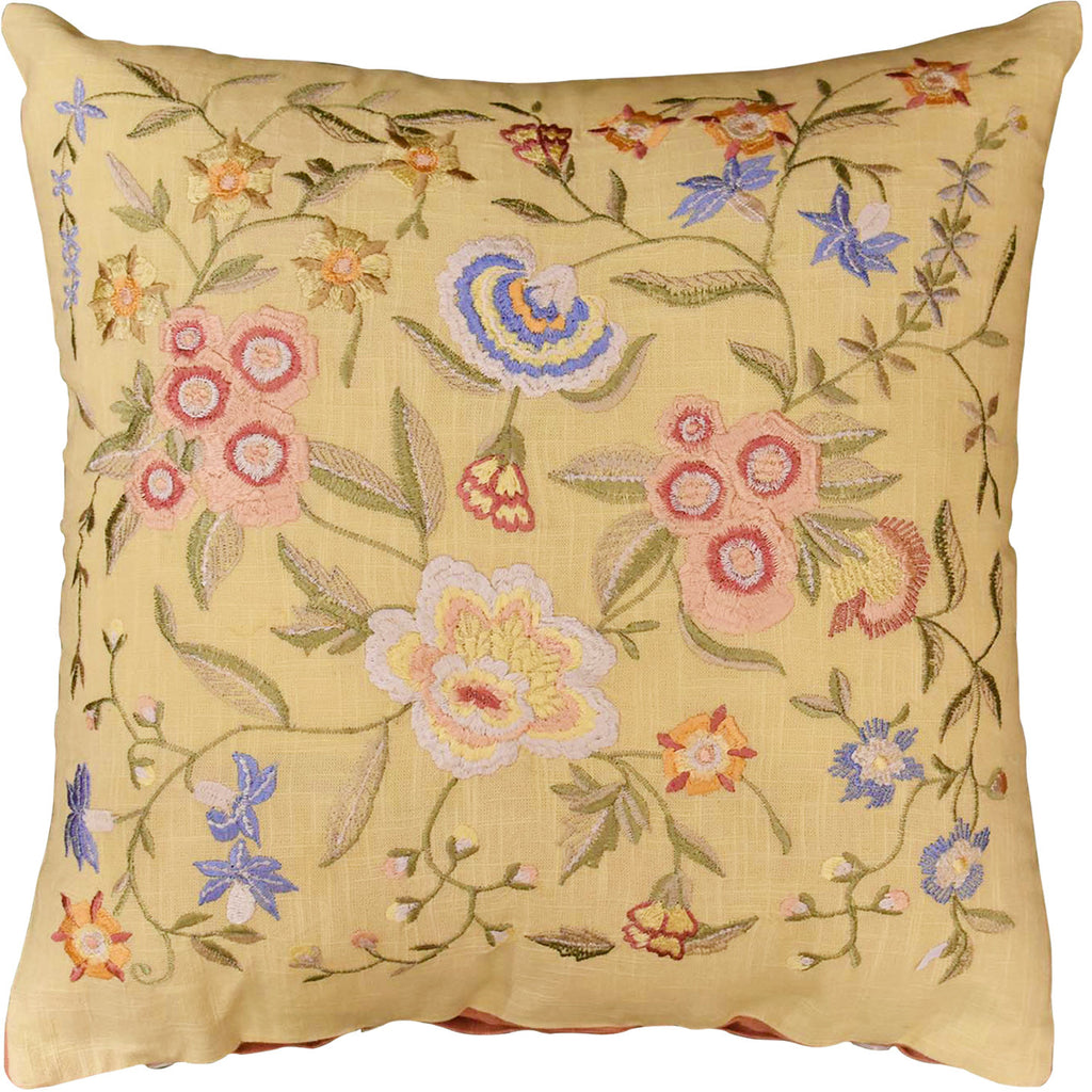 "Vienna Butter Floral Design Decorative Cotton Pillow Cover Embroidered 18""x18"" - KashmirDesigns"