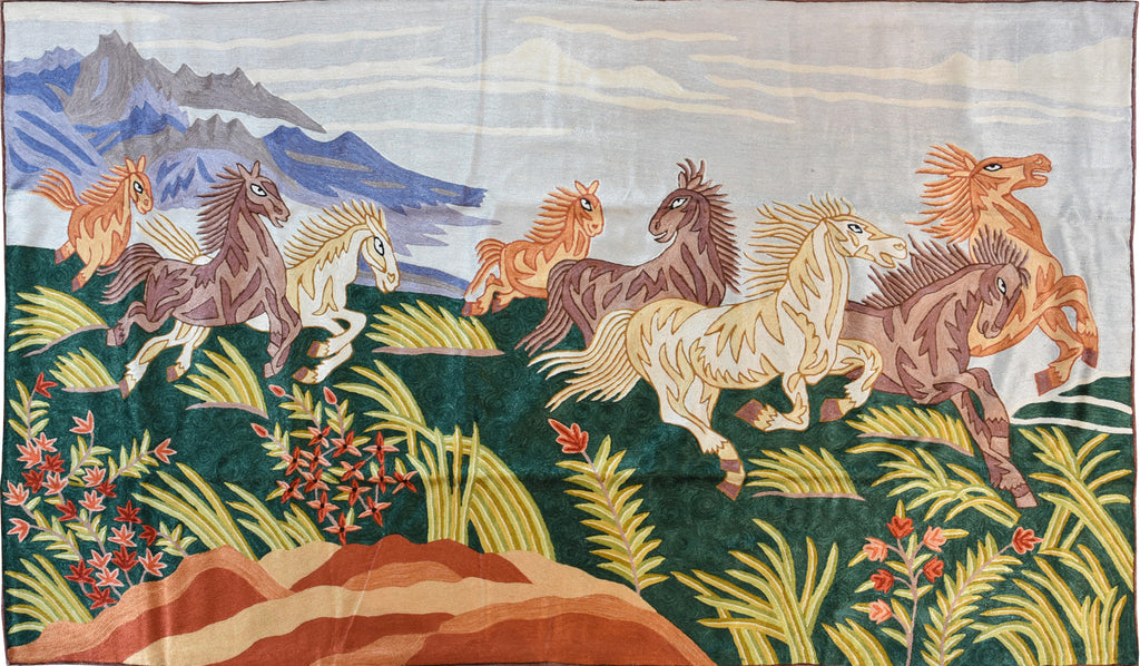 8 Horses 3ftx5ft Hand embroidered Steppe Wall Hanging Tapestry Rug Art Silk - KashmirDesigns