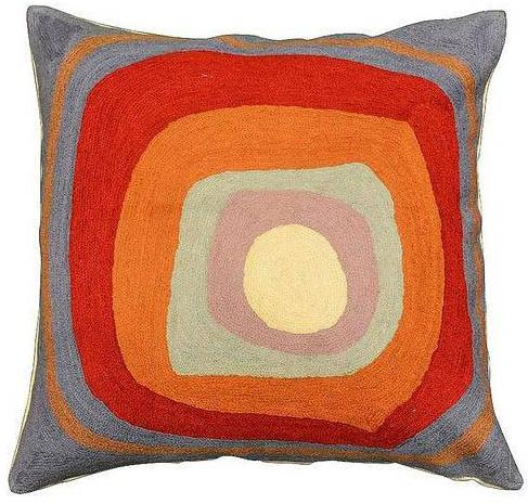 "Kandinsky Ruby Square III Blue Cushion Cover Hand Embroidered 18"" x 18"" - KashmirDesigns"