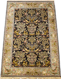 6'X4' Navy Nain Rug Pure Silk Pile Oriental Area Rugs Carpet Hand Knotted