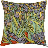 Irises Inspired Van Gogh Throw Pillow Cover Hand Embroidered 18