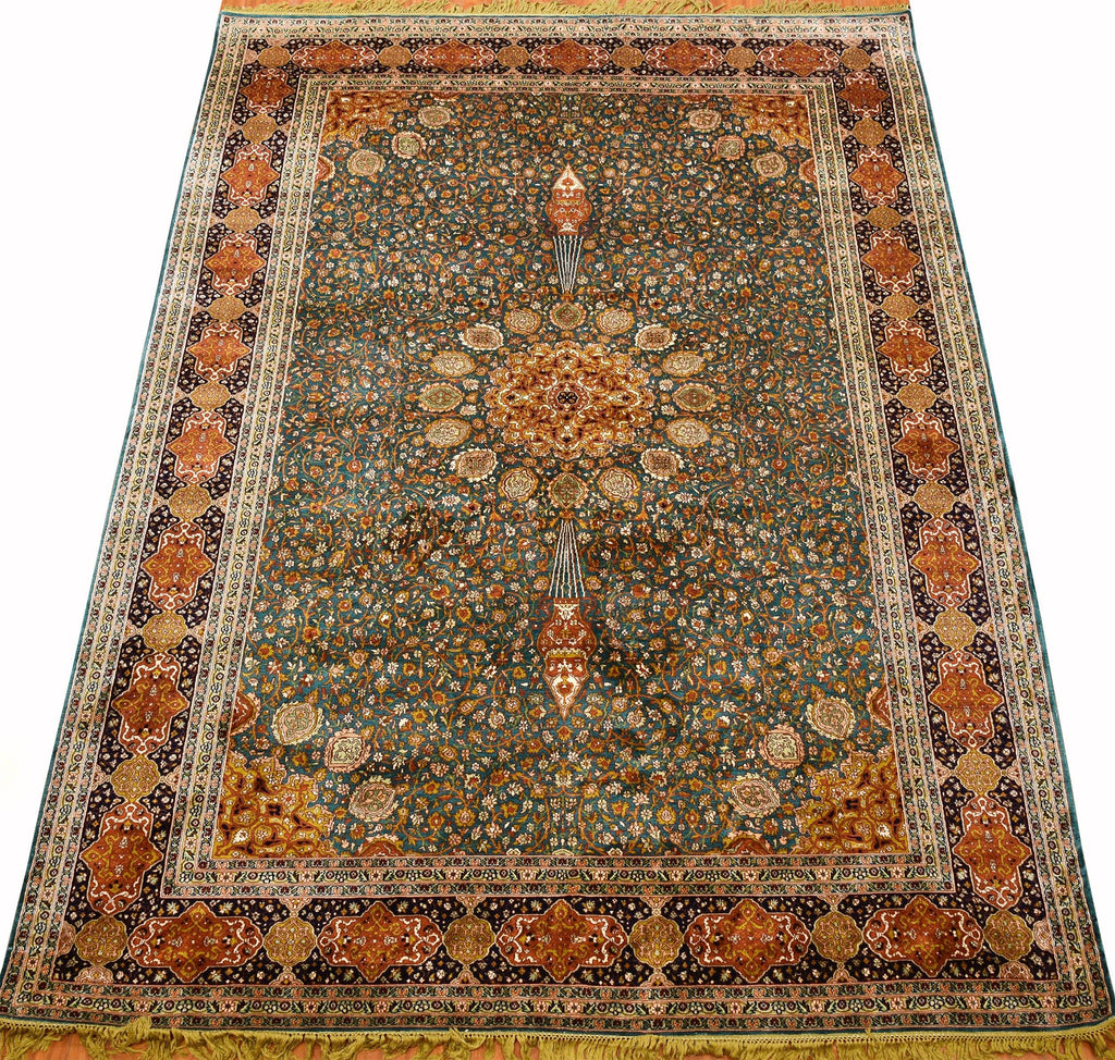 6x9ft Ardabil Silk Rug Oriental Carpet Medallion Green Teal Kashmir Hand Knotted - Kashmir Designs