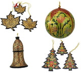 Holiday Christmas Ornaments, Hand Painted Ball, Bell, Tree and Maple Set