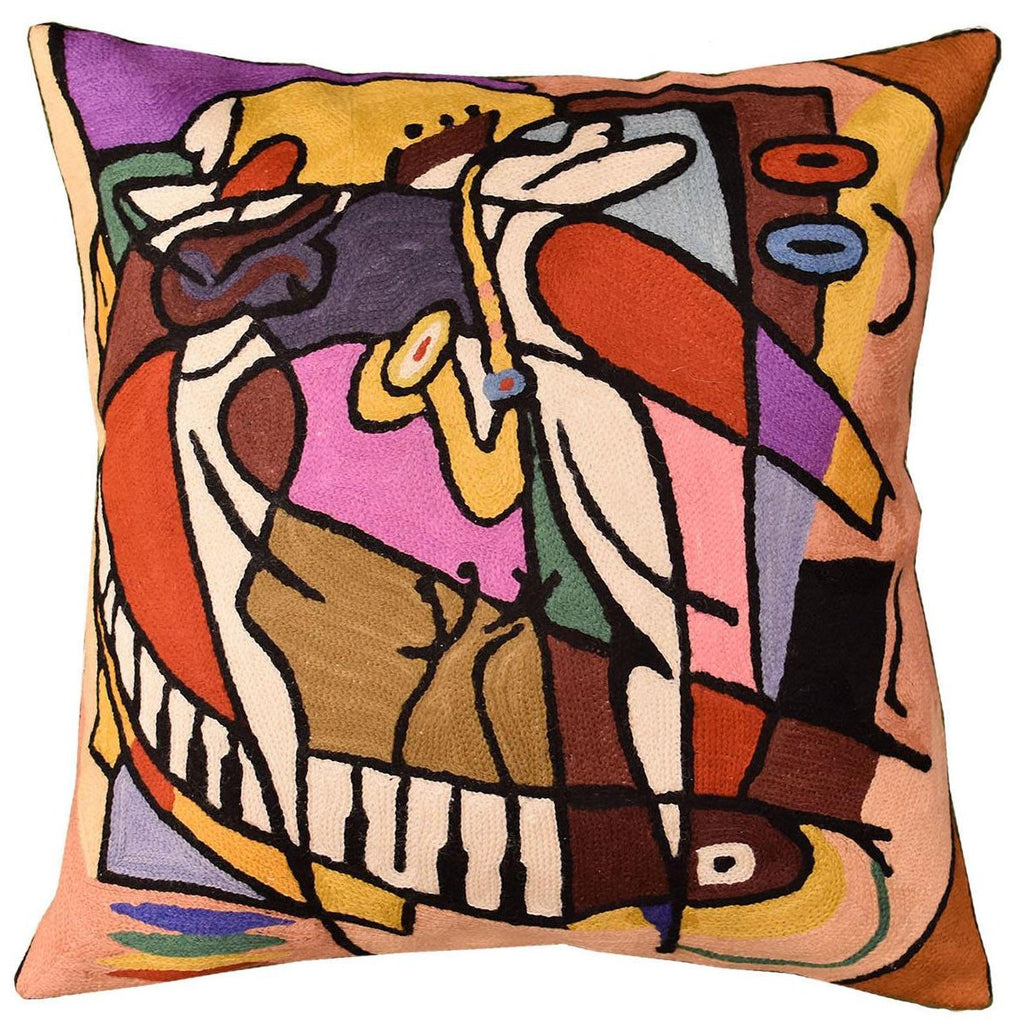 "Wailing on the Sax by Alfred Gockel Accent Pillow Cover Handmade Wool 18"" x 18"" - KashmirDesigns"