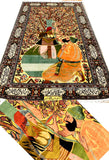 Omar Khyyam Silk Pictorial Rug Golden threads Hand Knotted 6ft x 4ft