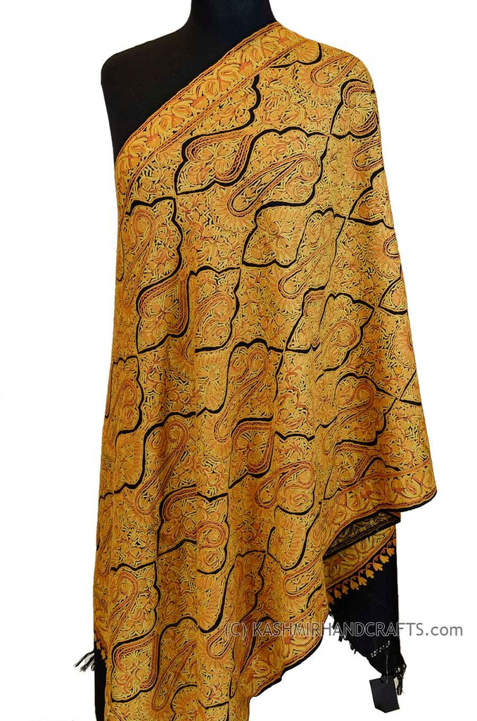 Yellow Gold Shawl Kashmir Jamawar Handembroidered Suzani Needlework Wrap 27x76""