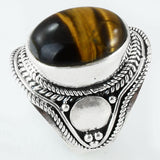 Size 6.5 Tiger Eye Ring Sterling Silver Cabochon Oval Rings