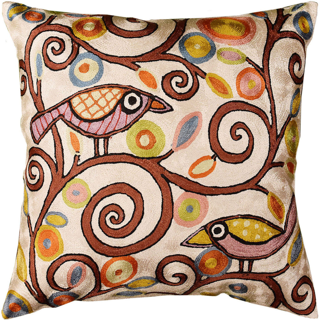 "Klimt Tree Of Life Birds Cream Throw Pillow Cover Hand Embroidered 18"" x 18"" - KashmirDesigns"