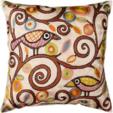 Klimt Tree Of Life Birds Cream Throw Pillow Cover Hand Embroidered 18