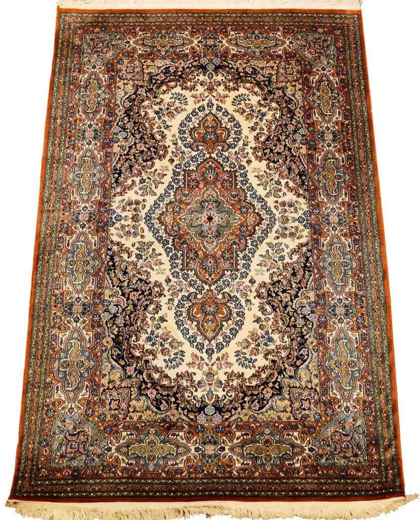 6'X4' Kirman Kashan Rug Pure Silk Pile Green Oriental Area Rugs Carpet Hand Knotted