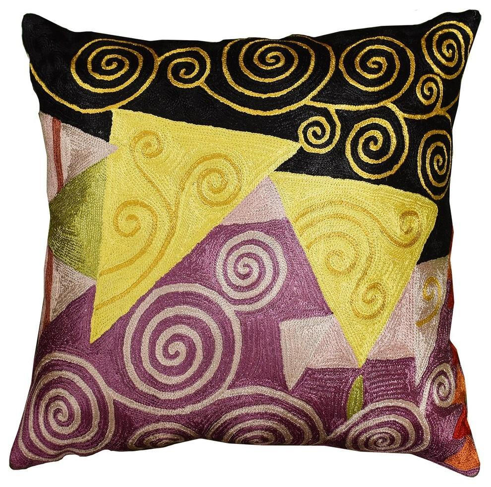 Klimt Accent Pillow Cover Tree Of Life Hand Embroidered,  Black Purple, 18?x18? - KashmirDesigns