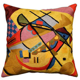 Kandinsky Yellow Gold Pillow Cover Varyagi Hand Embroidered, Wool, 18