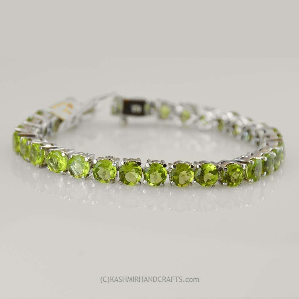 Peridot Natural Stone Bracelet Sterling Silver Radiance