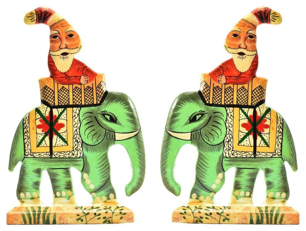 Santa Elephant Christmas Holiday Ornaments Handpainted, Green, Set of 2 - KashmirDesigns