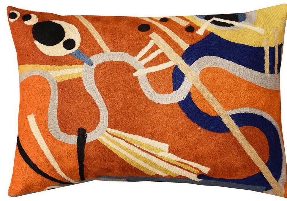 Lumbar Intuitive Flow II Kandinsky Decorative Pillow Cover Wool 18?x18? - KashmirDesigns