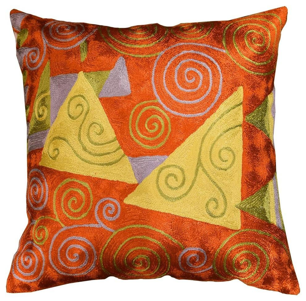 "Klimt Accent Pillow Cover Tree Of Life Hand Embroidered, Orange Red, 18""x18"" - KashmirDesigns"