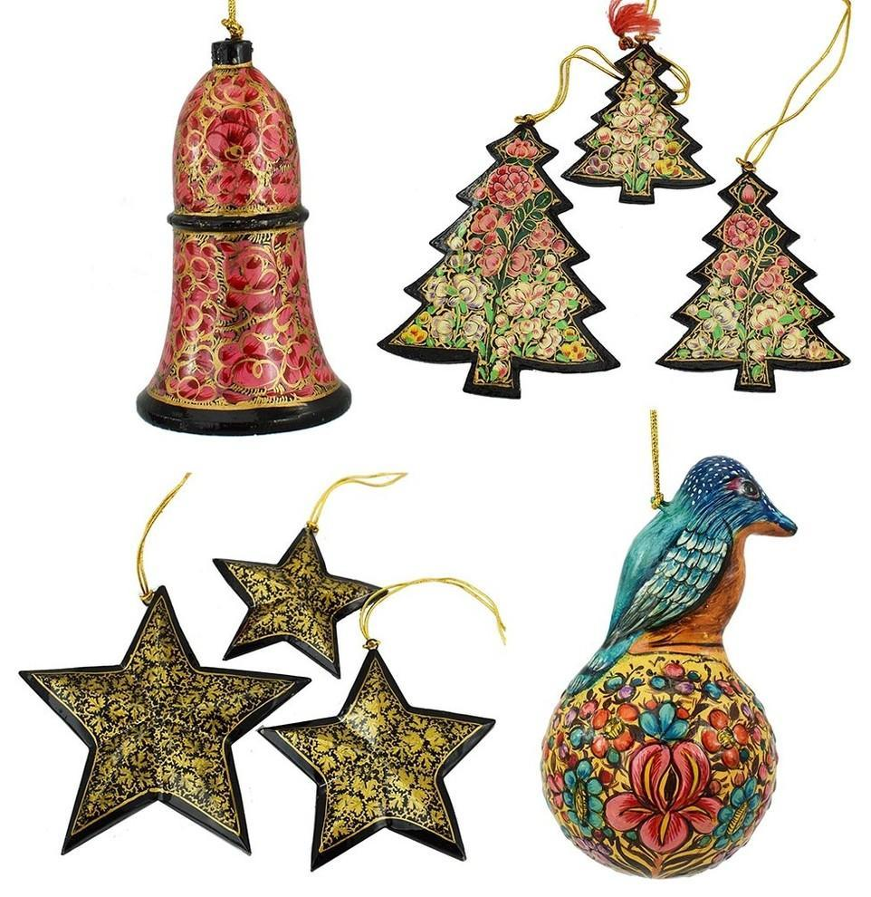 Christmas Ornaments Holiday Decorations Robin Ball, Bell, Tree and Star Set - KashmirDesigns