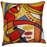Decorative Musical Accent Pillow Cover Hand-embroidered Wool 18x18