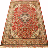 6x9ft Red Cream Isfahan Silk Rug Oriental Carpet Medallion Kashmir Hand Knotted