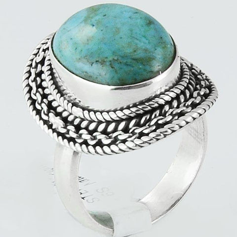 Size 6.5 Turquoise Ring Sterling Silver I Hand Carved Oval Rings