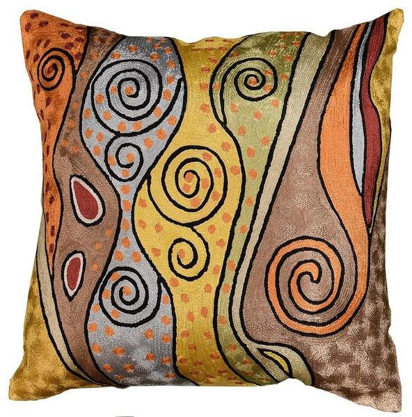 "Klimt Accent Pillow Cover Art Nouveau Hand Embroidered Silk, 18""x18"" - KashmirDesigns"