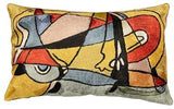 Lumbar Modern Abstract Oblong Pillow Cover Silk Hand Embroidered Art Silk 13x 21