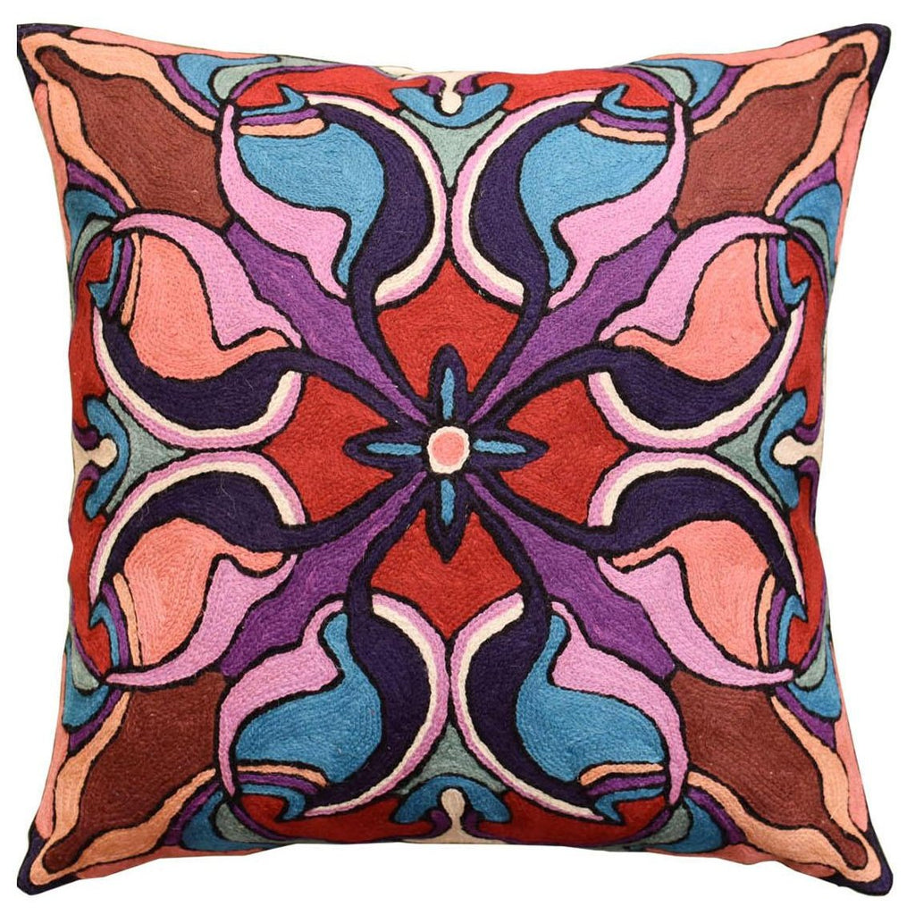 "Mosaic Floral Pillow Cover Decorative Stained Glass I Wool Handmade 18x18"" - KashmirDesigns"