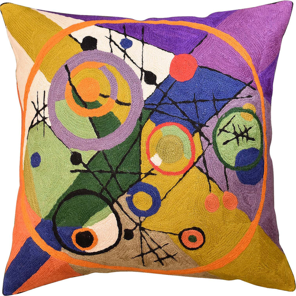 "Kandinsky Circles In Circle III Accent Pillow Cover Handembroidered Wool 18""x18"" - KashmirDesigns"