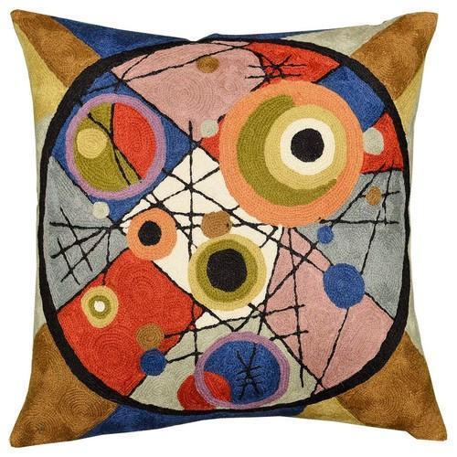 "Kandinsky Circles In Circle II Throw Pillow Cover Wool Hand Embroidered 18"" x 18"" - KashmirDesigns"