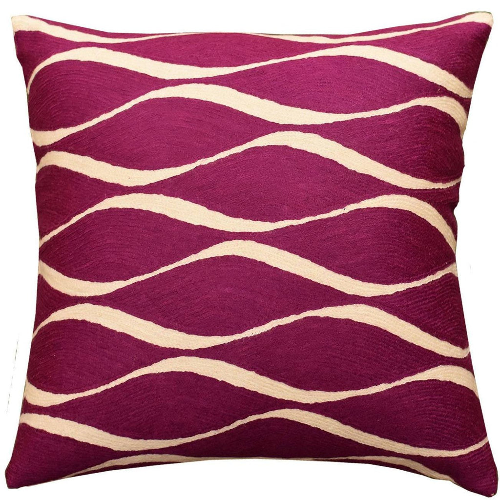"Contemporary Waves Tyrian Purple I Decorative Pillow Cover Handmade Wool 18"" x 18"" - KashmirDesigns"