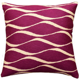 Contemporary Waves Tyrian Purple I Decorative Pillow Cover Handmade Wool 18