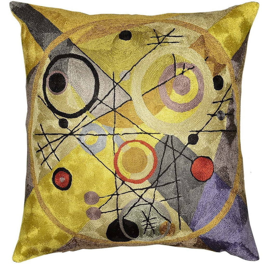 "Kandinsky Cushion Cover Circles In Circle III Yellow Handembroidered Art Silk 18x18"" - KashmirDesigns"