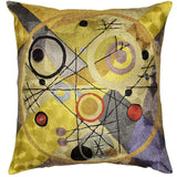 Kandinsky Cushion Cover Circles In Circle III Yellow Handembroidered Art Silk 18x18