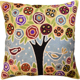 Tree & 2 Birds in Bloom Karla Gerard Pillow Cover Handembroidered Wool 18