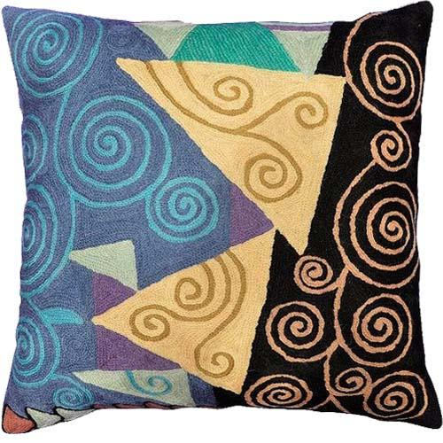 "Klimt Accent Pillow Cover Tree Of Life Black Blue Accent Hand Embroidered 18"" x 18"" - KashmirDesigns"