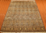 9'x12' Qum Silk Rug Brown Tree of Life Oriental Area Rugs Persian Style geometric Carpet Hand Knotted