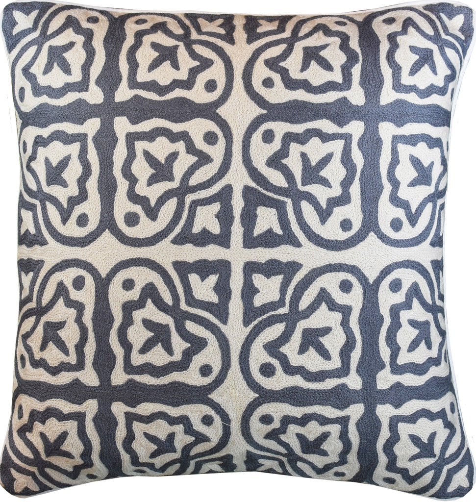 "Mosaic Elements Ivory Gray Decorative Pillow Cover Handembroidered Wool 20x20"" - KashmirDesigns"