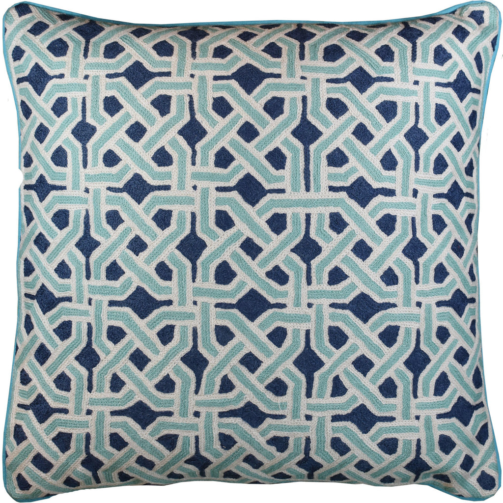 Mosaic Celtic Knot Turquoise Decorative Pillow Cover Handembroidered