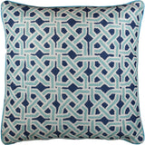 Mosaic Celtic Knot Turquoise Decorative Pillow Cover Handembroidered Wool 20x20