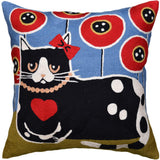 Black Cat Red Heart Decorative Pillow Cover Poppy Field Handembroidered Wool 18x18