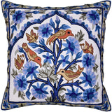 Blue Bird & Butterflies Decorative Pillow Cover Tree of Life Handembroidered Wool 18x18